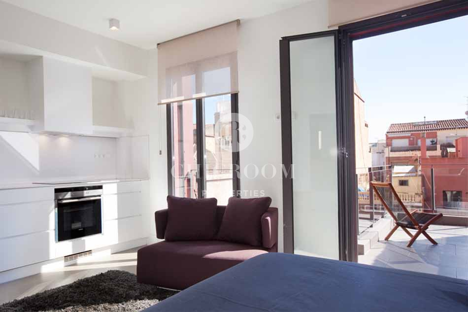 Furnished 1 bedroom flat with terrace for rent in Sarria