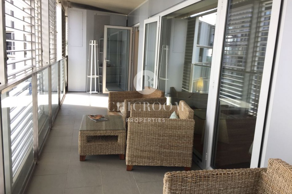 Furnished 3 bedroom apartment for rent with terrace diagonal mar for Three bedrooms apartment for rent