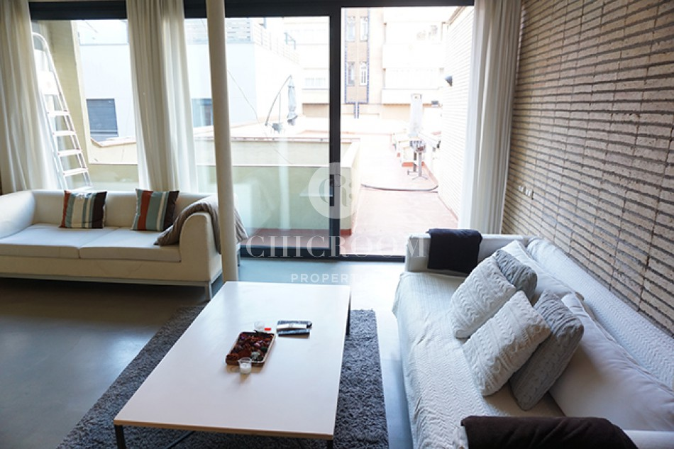 Furnished loft apartment with terrace for rent in Barcelona Poblenou